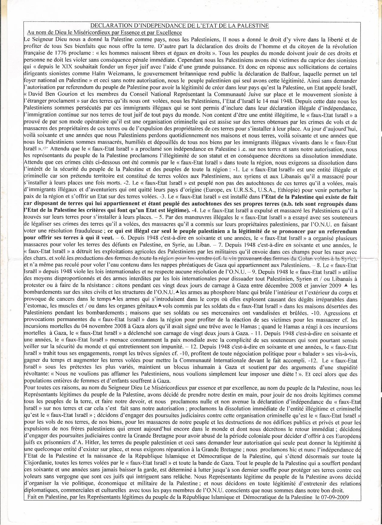 DEMANDER A L'ASSEMBLÉE GÉNÉRALE DE L'ONU DE SE SAISIR DU DOSSIER PALESTINIEN POUR SON RÈGLEMENT DÉFINITIF, ETANT DONNÉ QUE LE CONSEIL DE SÉCURITÉ DE L'ONU A L'ORIGINE DE LA CRÉATION DU
