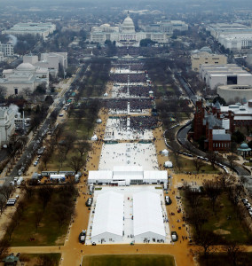 A combination of photos shows the crowds attending the inauguration ceremonies of U.S. President Donald Trump and President Barack Obama