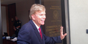 Former leader of the Ku Klux Klan David Duke leaves the Louisiana Secretary of State's office after filing to run as a Republican for United States Senate in Baton Rouge