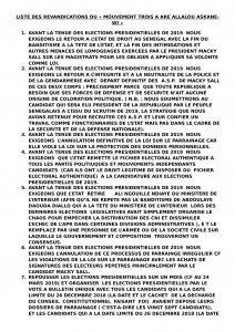 LISTE DES REVANDICATIONS DU-1