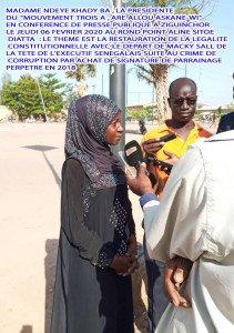 Mme Ndèye Khady BA en conférence de presse publique à Ziguinchor  le 06 février 2020 au rond point Aline Sitoé Diattat